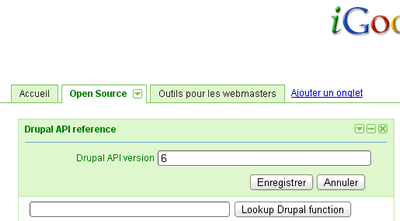 iGoogle with this Drupal API gadget
