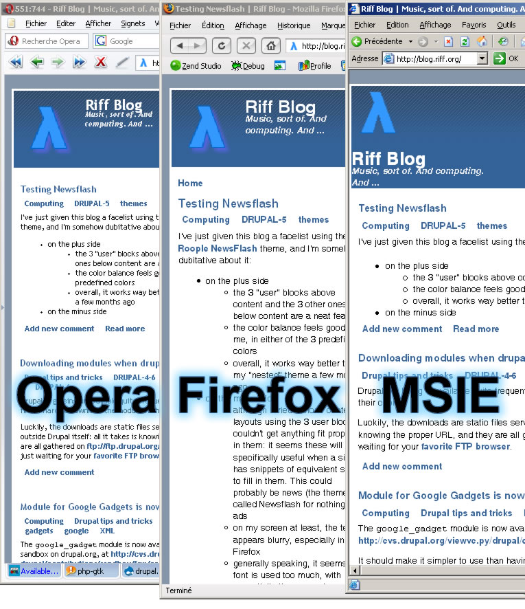 newsflash screendump in Opera, Firefox and MSIE