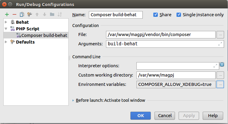Debug configuration for Composer command in PhpStorm